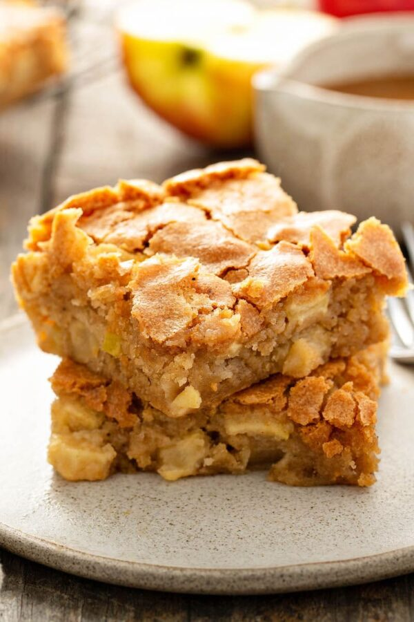 Apple Blondies placed on a plate.