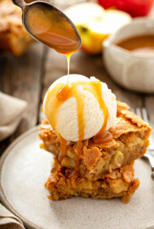 Apple Blondies with vanilla ice cream and caramel sauce.