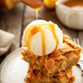 Apple Blondies with vanilla ice cream and caramel sauce.