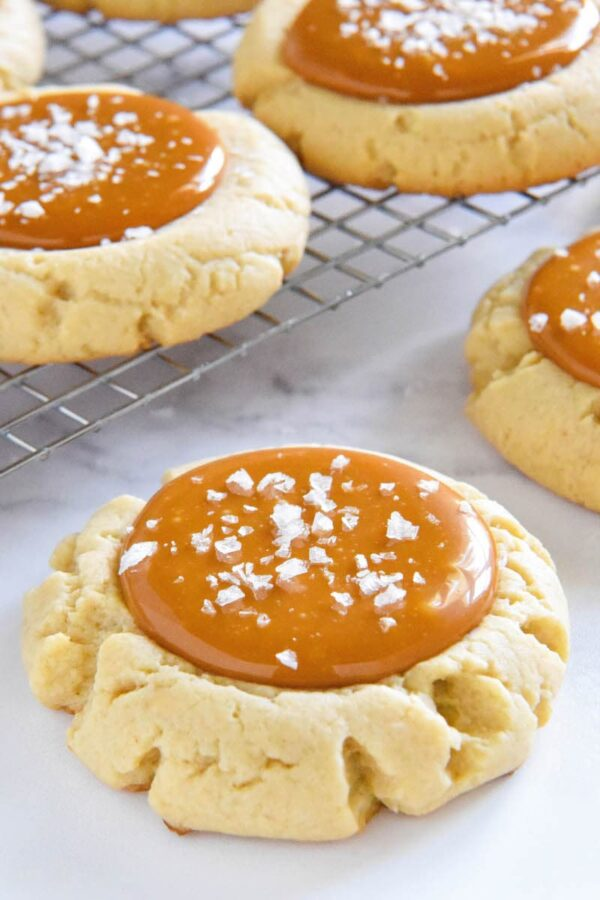 Salted Caramel Cookie with flaked sea salt on top.