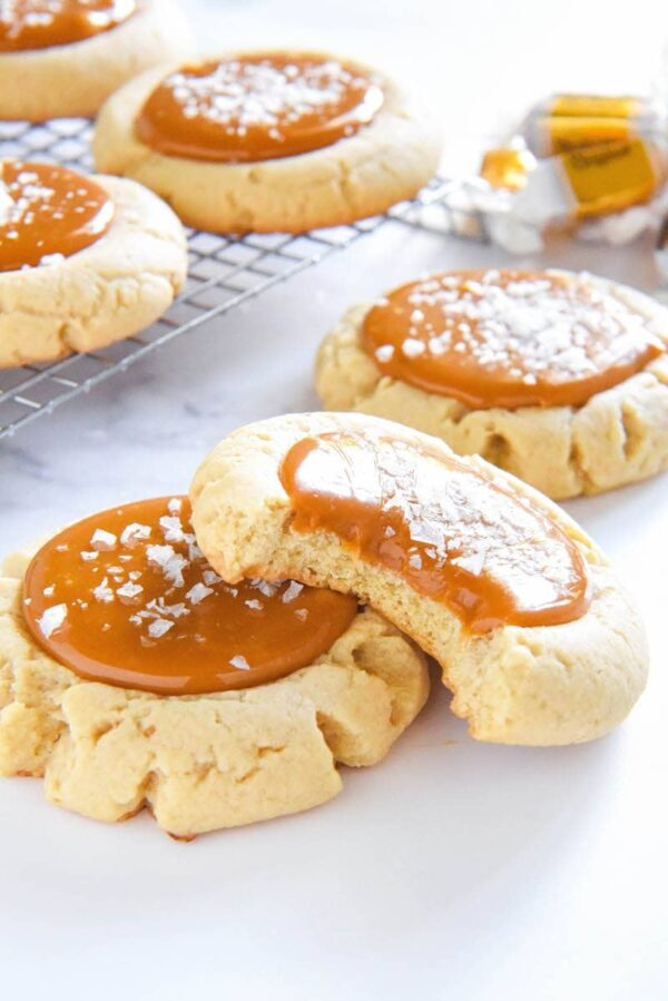 Salted Caramel Cookies stacked on top of each other.