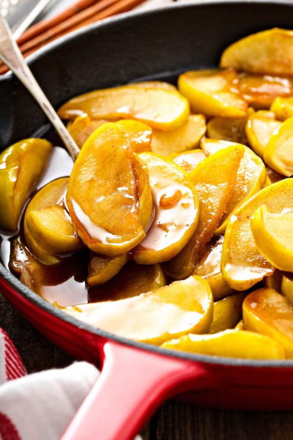 Fried Apples in a skillet.