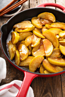 Homemade Fried Apples in a cast iron skillet.