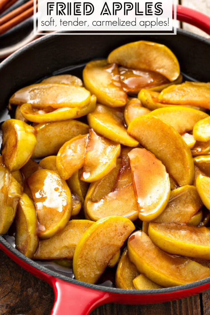 These sweet Southern style Fried Apples are just like the ones you eat at Cracker Barrel, but even more delicious when homemade! Great side dish or for dessert! #FriedApples #Apples #SouthernRecipes #Dessert #AppleDessert #AppleRecipes #SideDish #ThanksgivingSideDishes #Thanksgiving #ThanksgivingRecipes #Christmas #ChristmasRecipes #ChristmasSideDishes