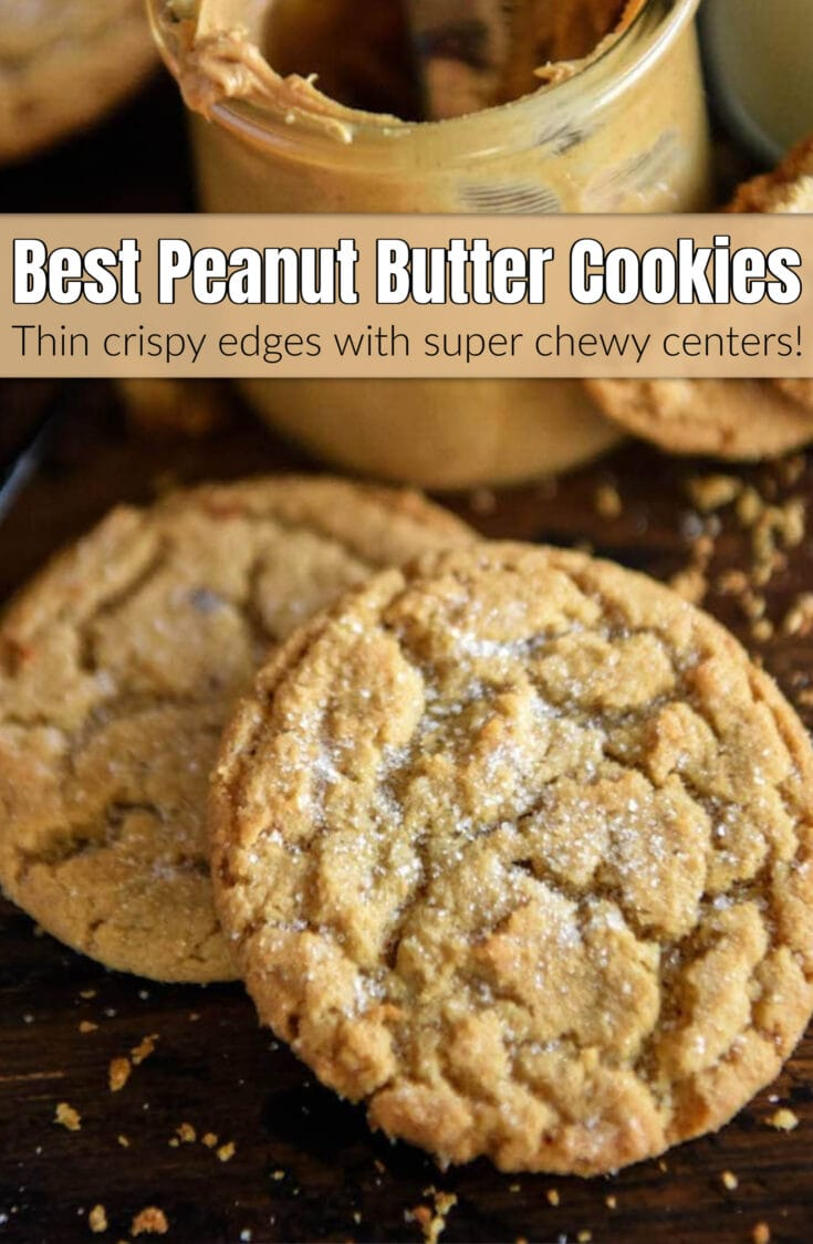 If you're looking for the BEST Chewy Peanut Butter Cookies, with super soft chewy centers and tons of peanut butter flavor, this easy recipe is the one for you! #PeanutButterCookies #PeanutButterCookieRecipe #PeanutButter #PeanutButterRecipes #CookieExchangeRecipes #CookieRecipes #Dessert #PeanbutButterDesserts #HolidayCookies