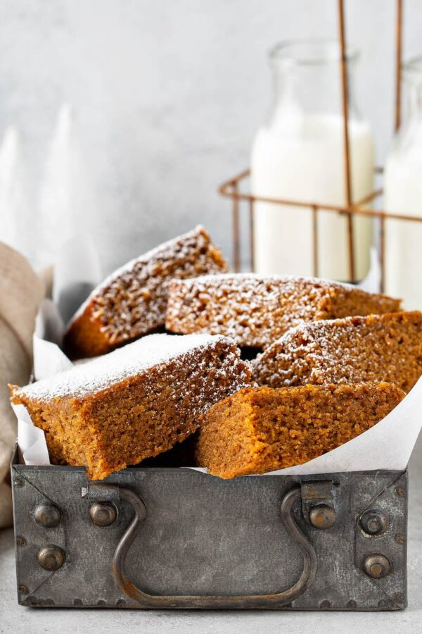 Gingerbread Cake sprinkled with powdered sugar.