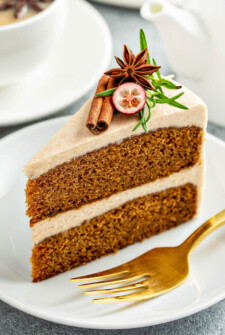 Gingerbread Cake on a white plate with a fork.