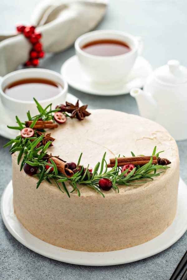 Gingerbread Layer Cake on a cake plate.