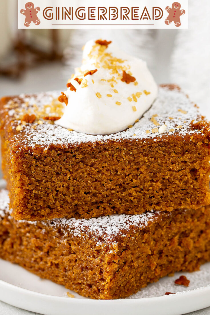 This is my families' favorite Gingerbread recipe with lots of warm spices and molasses. It's extra moist, dense and sweet, with the perfect amount of spice! #Gingerbread #GingerbreadRecipe #GingerbreadCake #Christmas #ChristmasRecipes #ChristmasCake #CakeRecipes