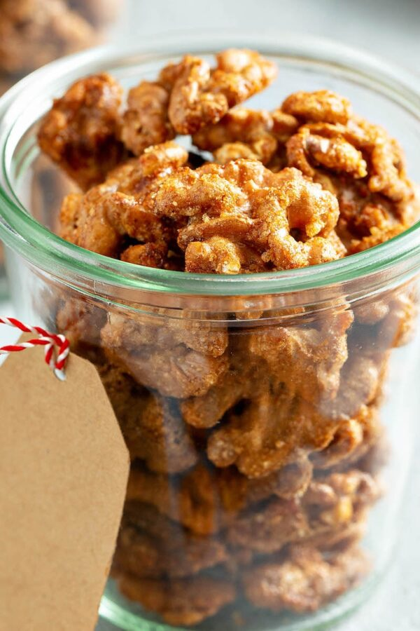 Toffee Walnuts in a clear jar.