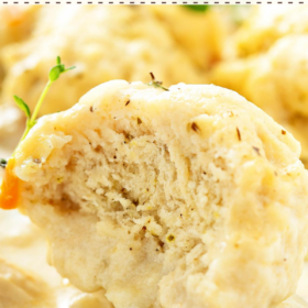 Pinterest collage image of chicken and dumplings with wording on top.