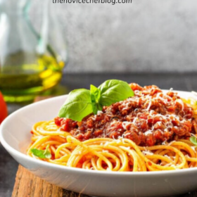 Pinterest collage image of homemade bolognese sauce