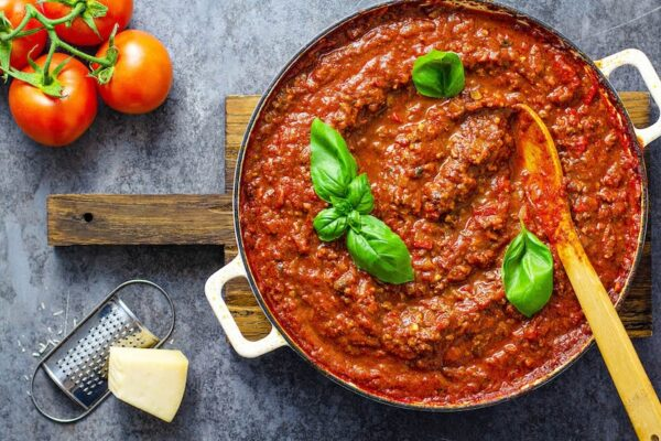 Bolognese sauce in a large skillet.