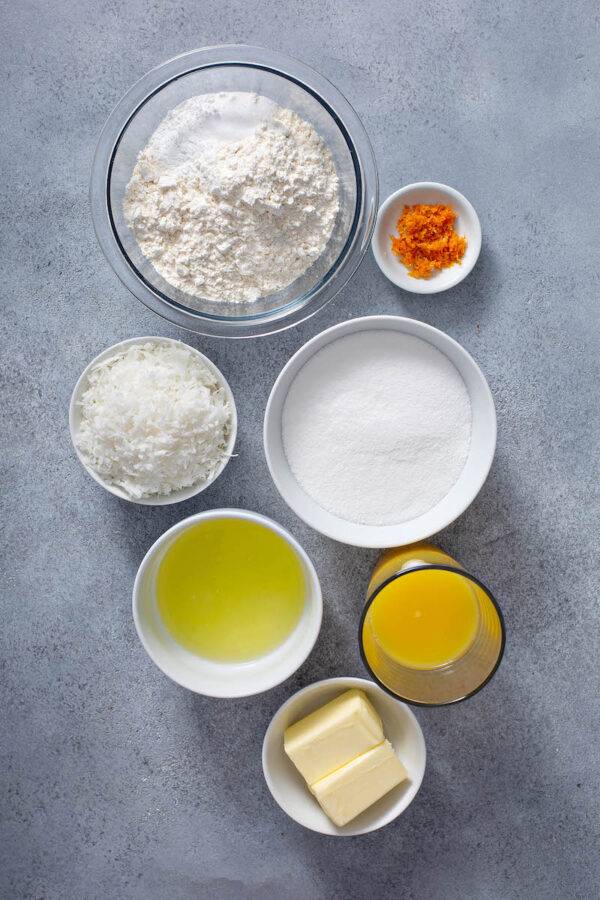 Ingredients for orange coconut cake recipe.