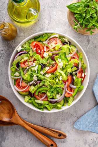 Overhead view of a bowl filled with homemade greek salad.