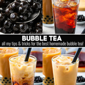You can now make your favorite bubble tea at home! Sweet black tea and chewy tapioca balls are topped with a heavy pour of cream for this delicious treat! #BubbleTea #BobaTea #BubbleTeaRecipe #BobaTeaRecipes #Boba #TeaRecipes