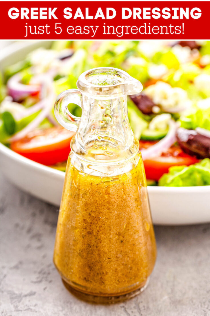 Making your own Greek salad dressing at home only takes a few minutes. It's fresh, light, full of flavor and so simple, you'll never buy store bought again! #GreekSaladDressing #SaladDressing #SaladDressingRecipes #Salad #GreekSalad #GreekFood #GreekRecipes #LowCarb #LowCarbRecipes #Keto #KetoRecipes #Healthy #HealthyRecipes