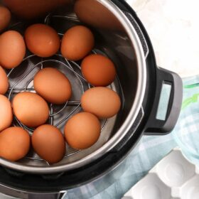 Hard boiled eggs getting ready to cook in the instant pot