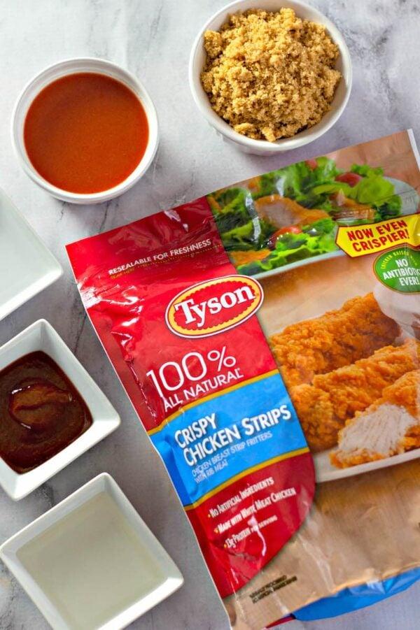Ingredients for sticky chicken.
