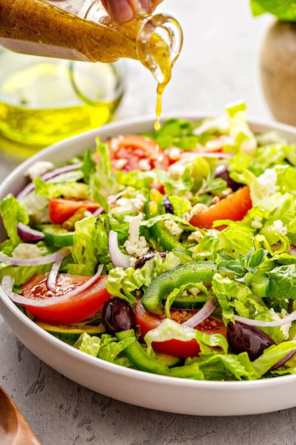 Salad Topped with Greek Salad Dressing