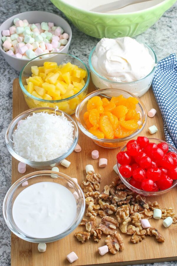 The ingredients for ambrosia salad.