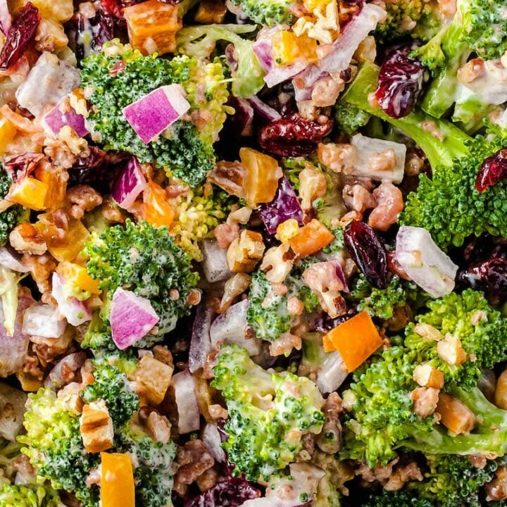 Close up of prepared broccoli salad.