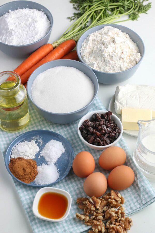 Ingredients to make carrot cake cupcakes