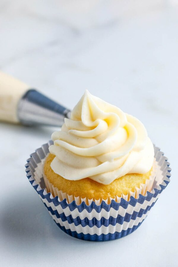 Cream Cheese Frosting on top of a cupcake.