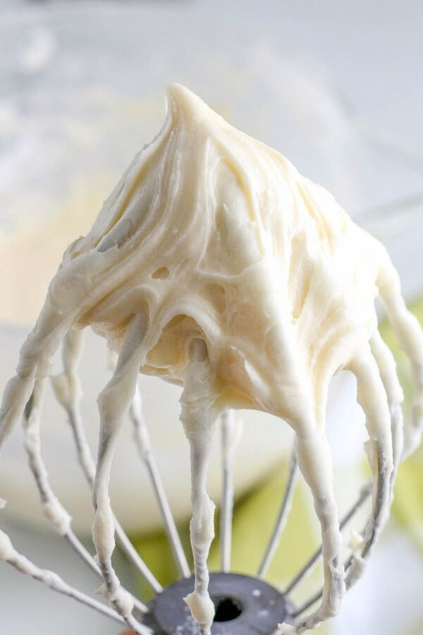 Cream Cheese Frosting on a beater.