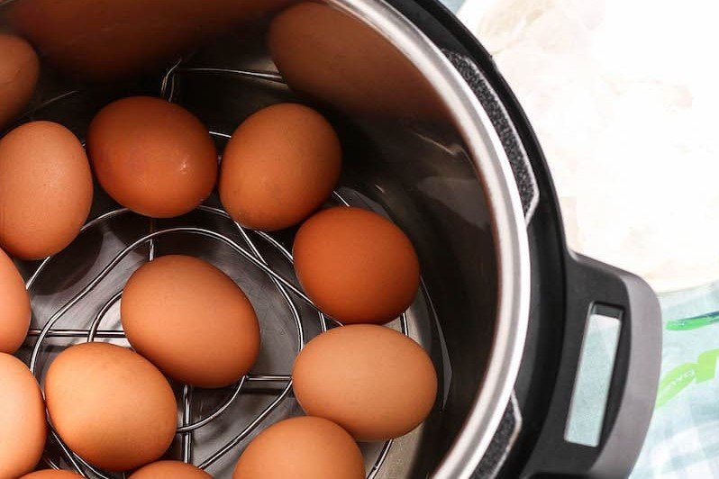 Eggs on a trivet in an instant pot