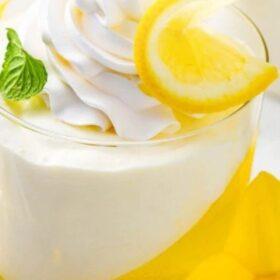 Pinterest Collage image of Lemon Jello Cups