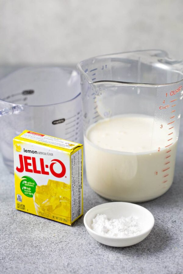 Ingredients for Lemon Mousse Jello Cups