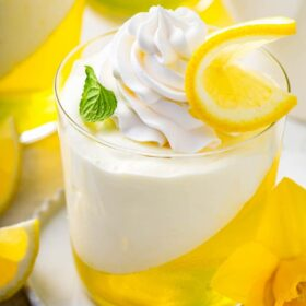 Up close image of lemon mousse jello cups.