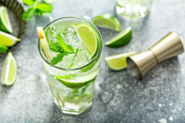 Mojito with lime, mint and sugar cane.