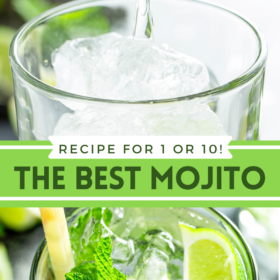 Collage image of a glass having simple syrup poured in and a glass with a mojito in it with a lime and mint.