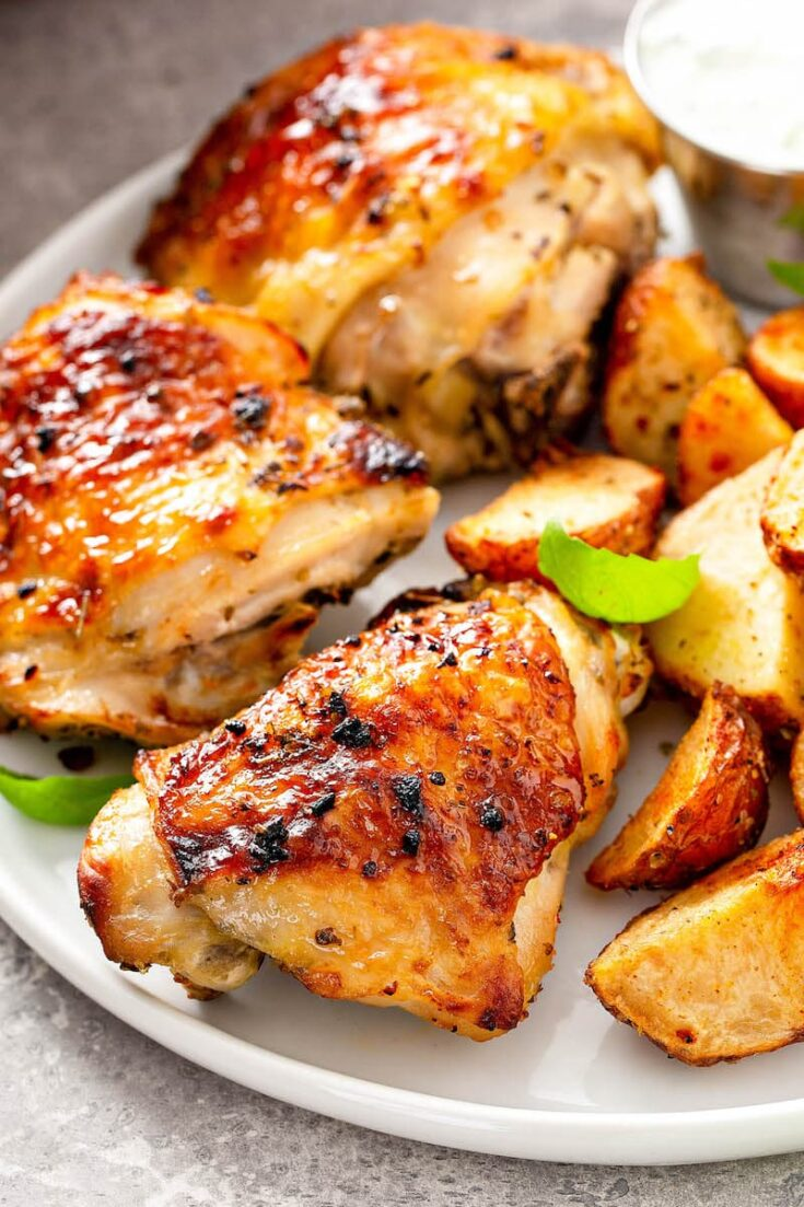 Juicy Oven Baked Chicken Breasts Or Thighs Easy Recipe