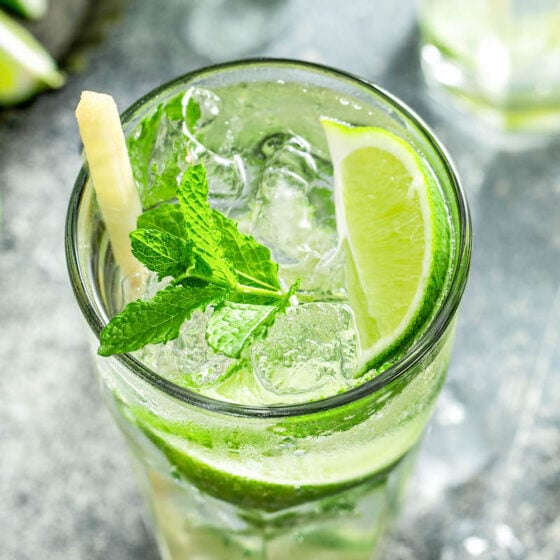 Up close image of the top of a mojito with lime and mint on top with a sugar cane stick.