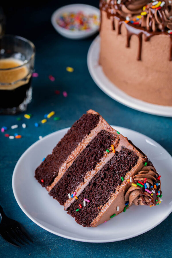 A layered slice of cake with chocolate buttercream and sprinkles on a white cake plate.