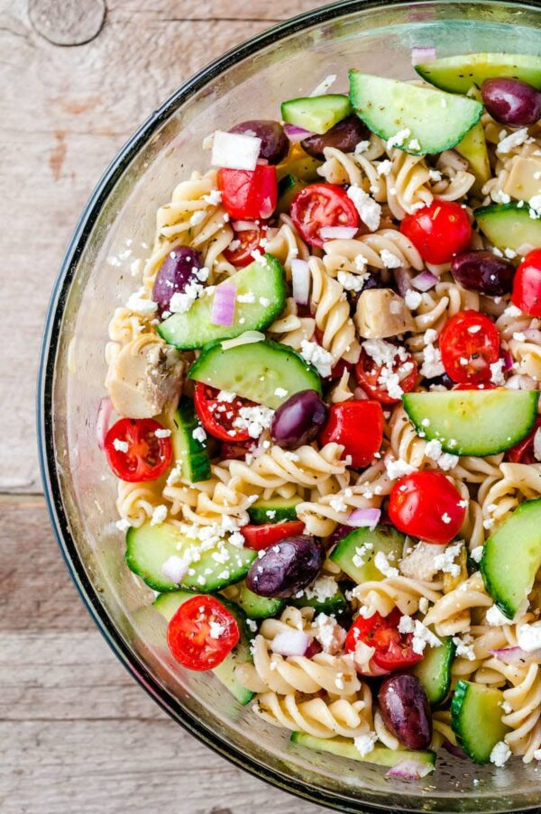 Greek pasta salad in a serving bowl.