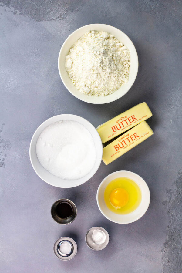 Ingredients for meltaway cookies in bowls.