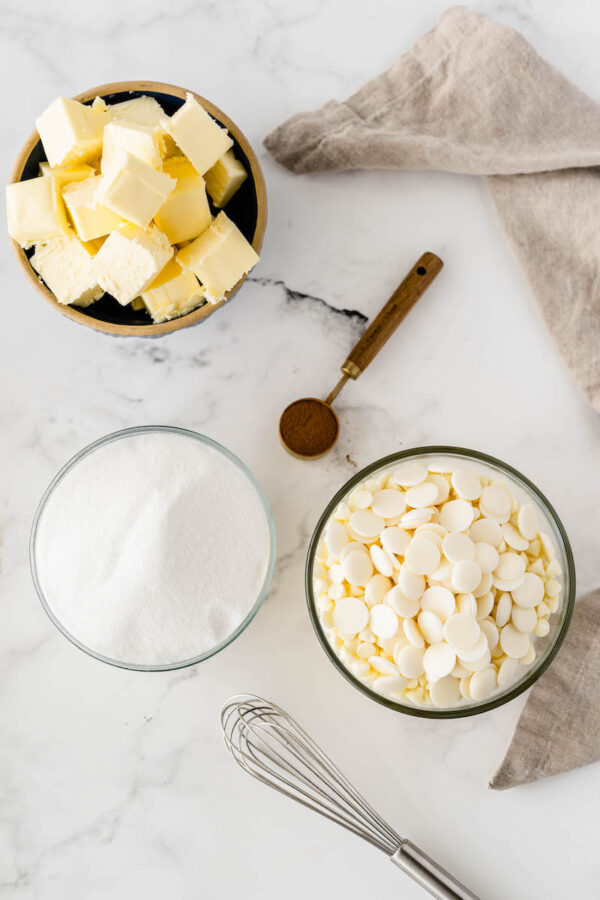 Small bowls with butter, sugar and white chocolate chips