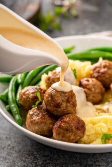 A Dinner Plate with Swedish Meatballs and Cream Sauce