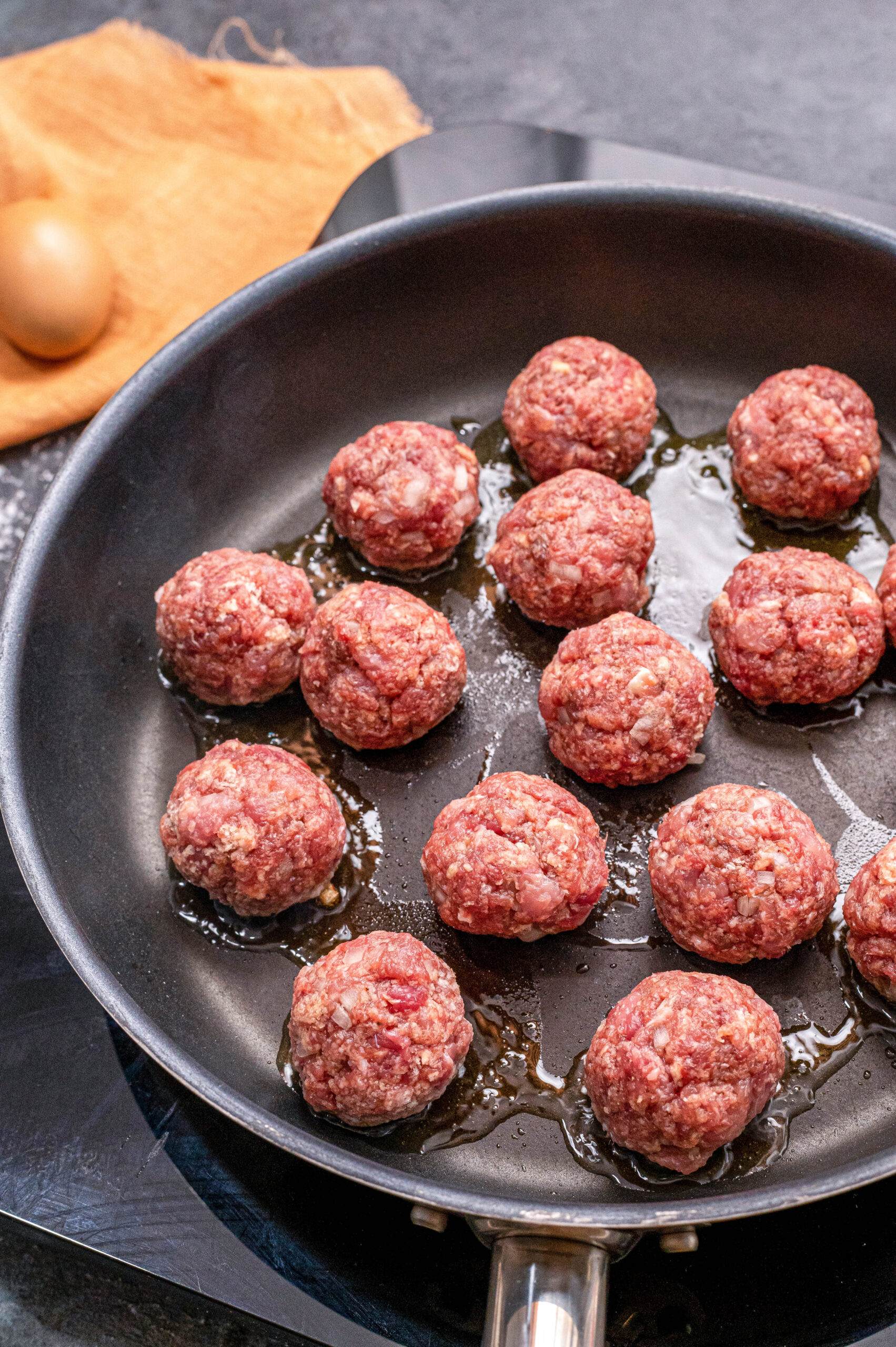 Swedish Meatballs in a Skillet with Olive Oil