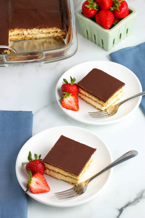Two Servings of No Bake Chocolate Eclair Cake