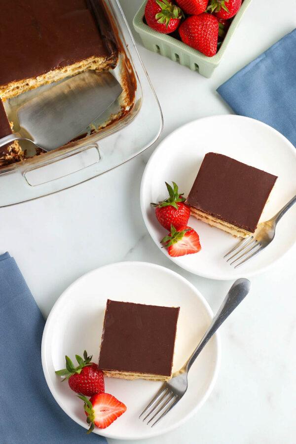 Two Squares of No Bake Chocolate Eclair Cake