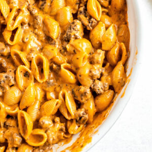 Close-Up View of Homemade Hamburger Helper