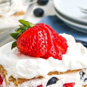 Pinterest collage image of Ice Box Cake