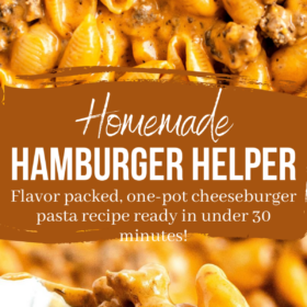 pinterest collage image with lettering and an up close image of hamburger helper.