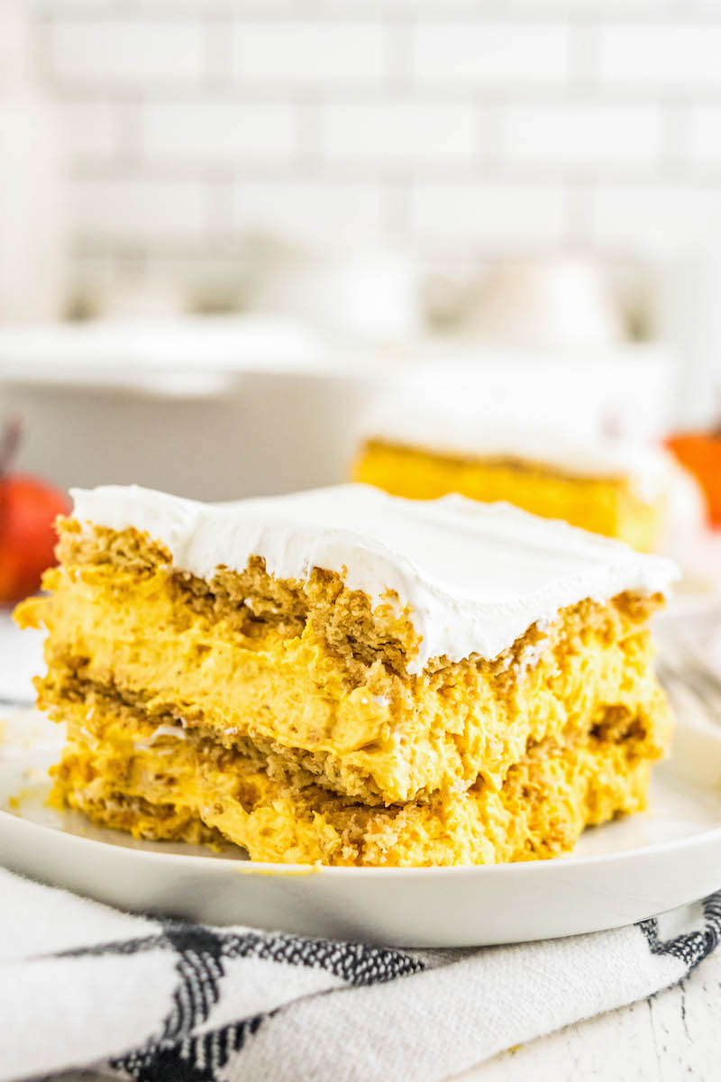 Slice of pumpkin ice box cake on a plate.