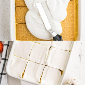 Pinterest collage image of pumpkin spice cake on a fork and on a plate.